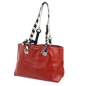 Miu Miu Red Leather Racing Stripe Tote Bag